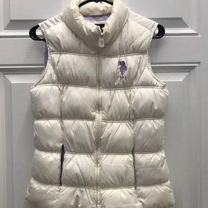 Women's Polo Puffer Vest Size L - Cream/lavender